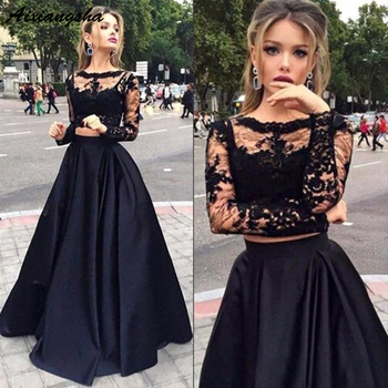 Charming Black Illusion Long Sleeves Lace Prom Party Gowns A-line Bateau Floor-Length Satin Two Piece Prom Dresses фото