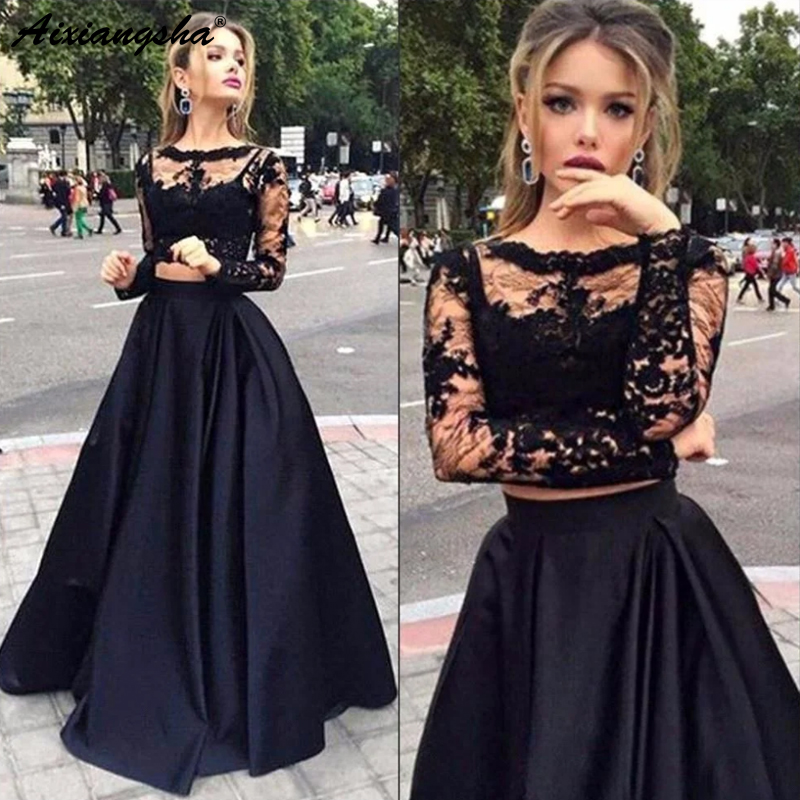 Charming Black Illusion Long Sleeves Lace   Prom   Party Gowns A-line Bateau Floor-Length Satin Two Piece   Prom     Dresses