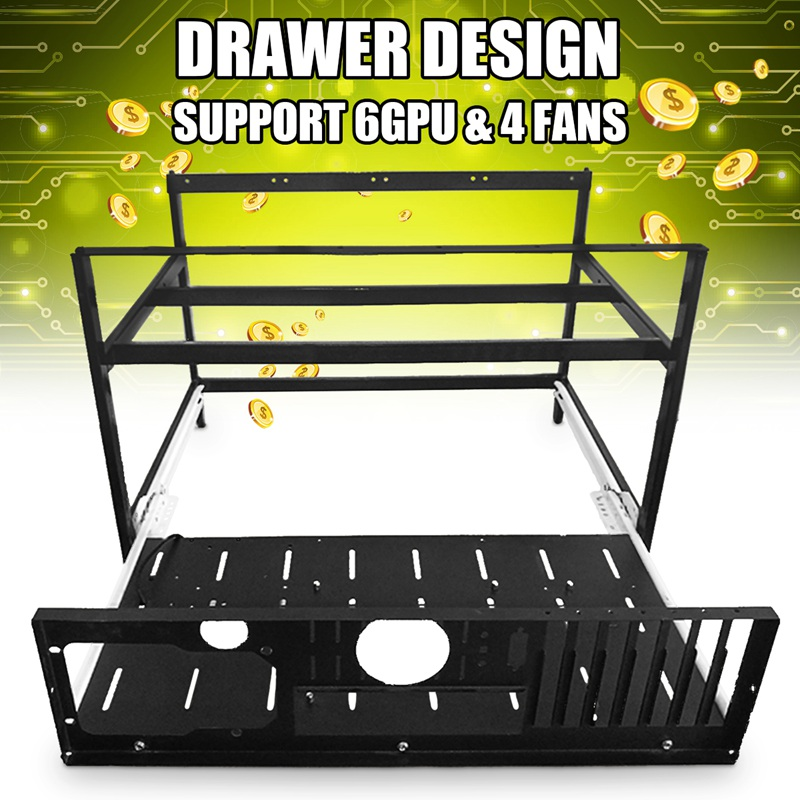 New Open Air Mining Rig Push-pull Frame Miner Case for 6 GPU ETC BTH New Computer Mining Case Frame Server Chassis сабвуфер acv swf pro124d open air