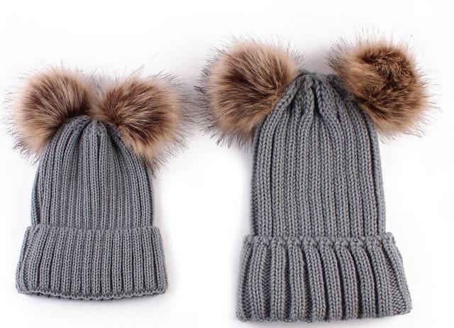 Dual Ball Kids Hats for Girl Warm Knitted Pom Faux Fur Ball Hats for Women Winter Crochet Children Cap Boy Clothing Accessories