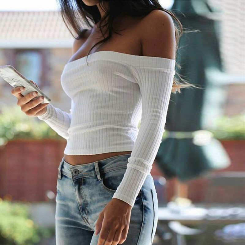 2018 Women T Shirt Off Shoulder Crop Top For Women Long Sleeve Solid Short T-Shirt Women Slash Neck Cotton t shirt women White