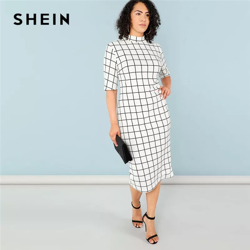 Elegant Plaid Bodycon Plus Size Long Pencil Dresses Womens Office Lady Stand Collar Grid Print Slim Fit Dress photo review