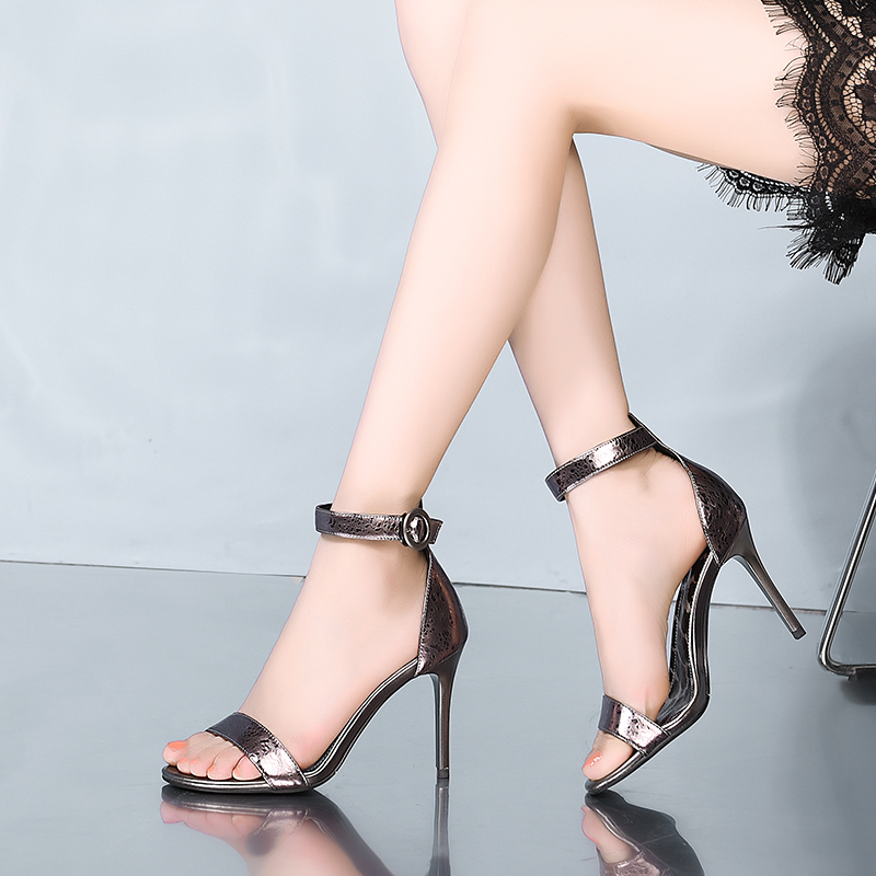 Sandals Women Summer Shoes High Heels Sandals Women Silver Leather Fashion 9cm 2019 in High Heels from Shoes