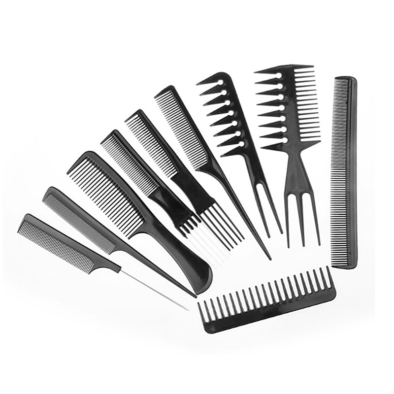 Free Shipping 10pcs Comb Set Black Professional Hair Brush Comb Salon Barber Combs Hairbrush Hairdressing Hair