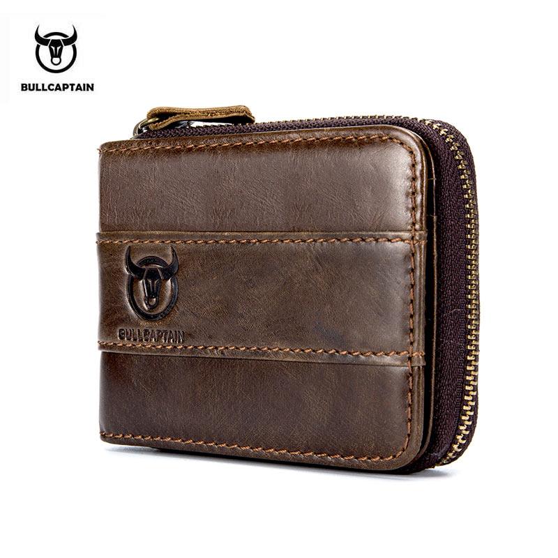 BULLCAPTAIN RFID Cowhide Coin Purse Slim Designer Brand Wallet New Arrival Mens Wallet clutch leather wallet for money Zipper bullcaptain new arrival 100