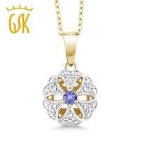 Gemstoneking vintage Joyería fina 0.12 cttw ronda azul tanzanita 18 K oro amarillo plateado Collar de plata colgante