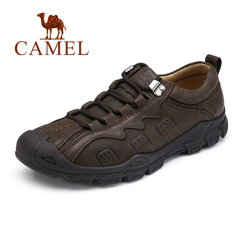 CAMEL Autumn New Men Shoes Youth Fashion Casual Non-slip Outdoor Genuine Leather Lacing Retro England Footwear Man Flats new spring autumn genuine leather men casual shoes man flats fashion suede flat handmade shoe waterproof non slip high quality