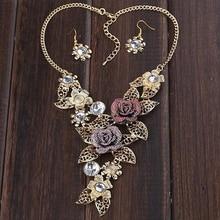 Women Hollow Flower Pendant Choker Chain Bib Statement Fashion Necklace Earrings