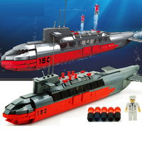 WOMA Model building kit military submarine 3D blocks Educational model building toys hobbies for children compatible with legoe