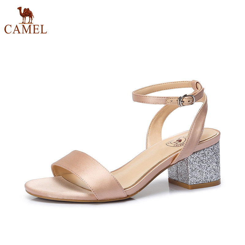 CAMEL Summer Fashion Hot Creative Sandals Women Genuine Leather Soft High Squeare Heel Buckle Open Toe