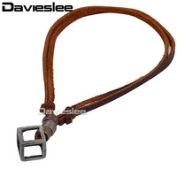 4mm Surf Womens Mens Open Cubic Metal Charm Brown Man Made Leather Choker Necklace Adjustable Wholesale Gift Jewelry LUN53