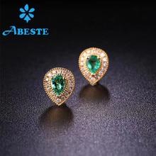 купить ANI 18K Yellow Gold (AU750) Women Emerald Stud Earrings Natural Diamond Earrings Pear Shape Engagement oorbellen voor vrouwen дешево