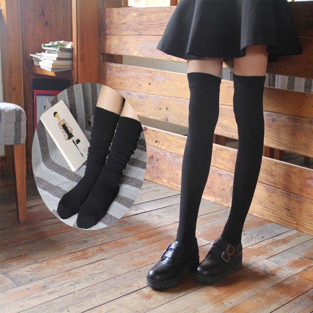 Thời trang Phụ Nữ Over the Knee Socks Sexy Ấm Đùi đầu gối cao Dài Cotton socks Cho Nữ trường Cô Gái Ladies calcetines mujer