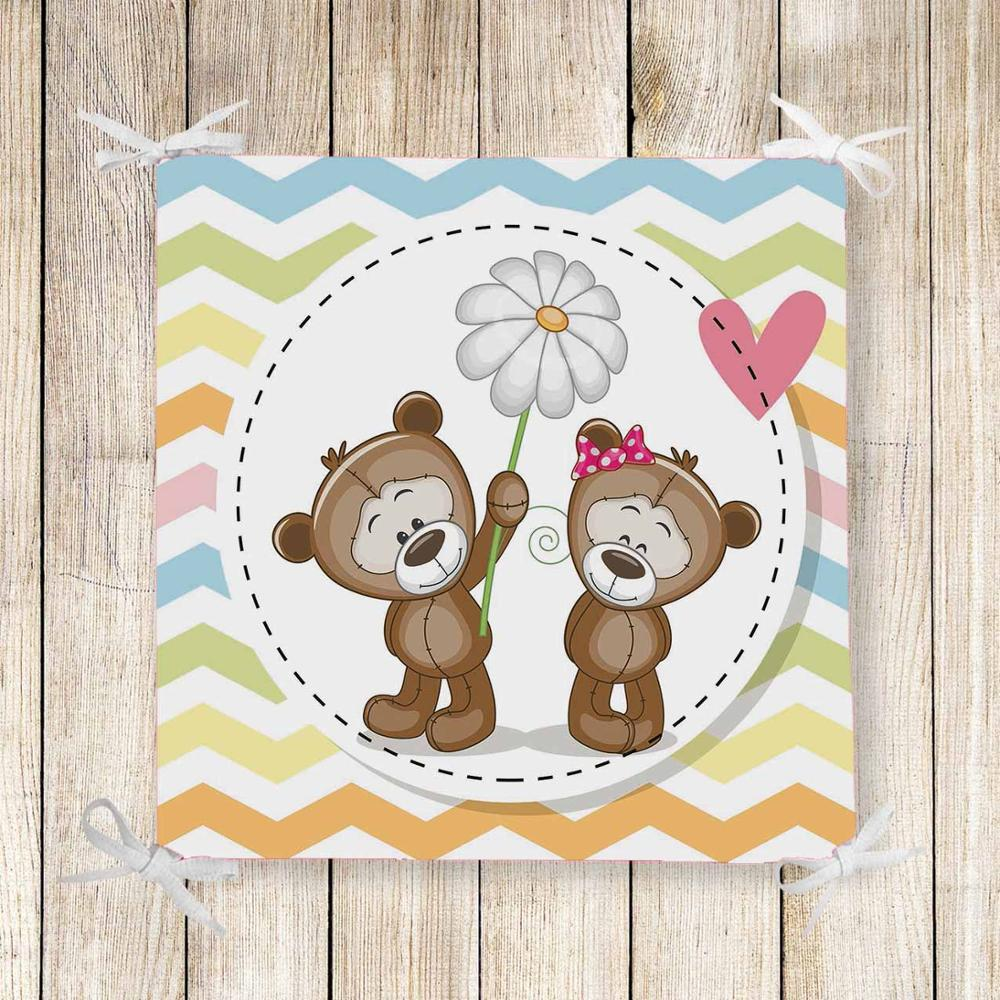 Else Colored Lines Brown Teddy Bears 3d Print Chair Pad Seat Cushion Soft Memory Foam Full Lenght Ties Non Slip Washable Zipper