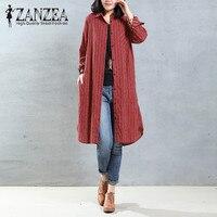 2017 ZANZEA Women Vintage Stripe Embroidery Lapel Neck Cotton Long Shirt Vestido Autumn Long Sleeve Blouse