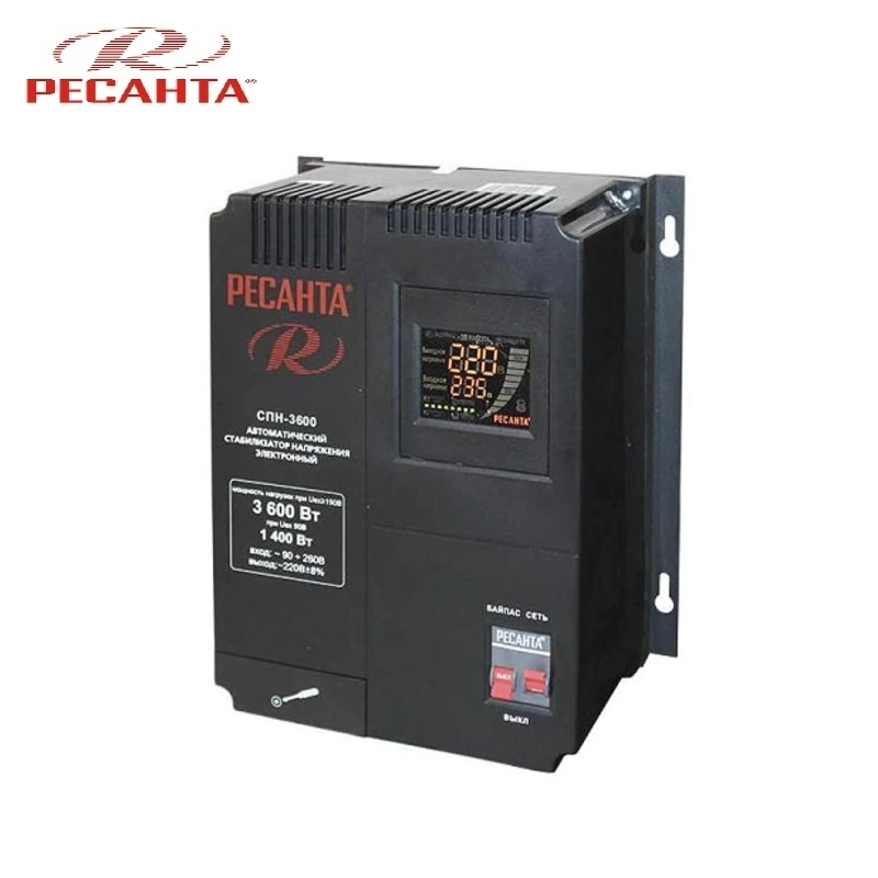 Single phase voltage stabilizer RESANTA SPN 3600 Relay type Voltage regulator Monophase Mains stabilizer Surge protect стоимость
