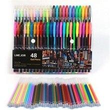 48 шт./лот цветная флуоресцентная Заправка для гелевой ручки подпись в офисе стержни цветные чернила заправка школьные канцелярские принадлежности пишущий инструмент для рисования