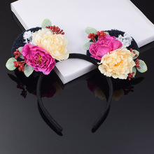 New Daisy Rose Flower Minnie Mouse Ears Headband Girls Cat Ear Floral Crown Hairband Party Woman Cosplay Hair Accessories