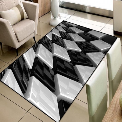 Else Black White Cubes Stairs Geometric 3d Print Non Slip Microfiber Living Room Decorative Modern Washable Area Rug Mat