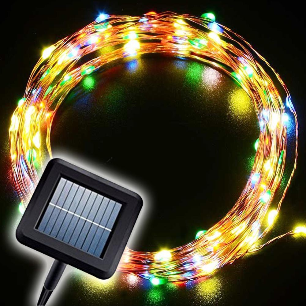 buy solar powered led copper wire string light 20m 200leds christmas fary. Black Bedroom Furniture Sets. Home Design Ideas