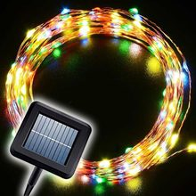 Zonne-energie LED Koperdraad String Light 20 m 200 Leds Kerst Fary Verlichting Waterdichte Outdoor Xmas Garden Party Decor verlichting(China)