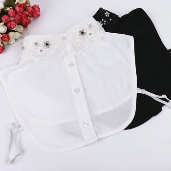 Embroidery False Collar Women Detachable Collar Sweater Fake Collars Vintage Flower Beading White/Black Blouse Tops accessory