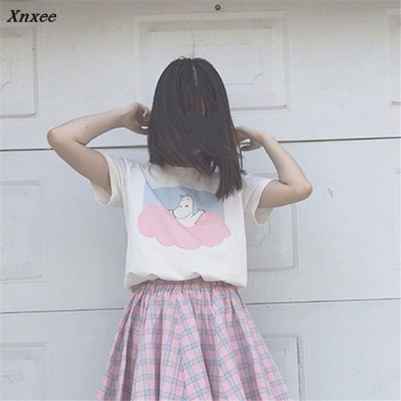 2018 4 Colors New Korea Summer Tee Character Print Short Sleeve T shirt Slim Women T shirt O neck Knit Tops 65218 Xnxee in T Shirts from Women 39 s Clothing