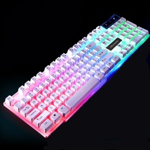 104keys Gaming Keyboard Waterproof 7 Colorful Backlight Computer Ergonomic Keyboard USB Powered For Laptop PC Gamers for LOL