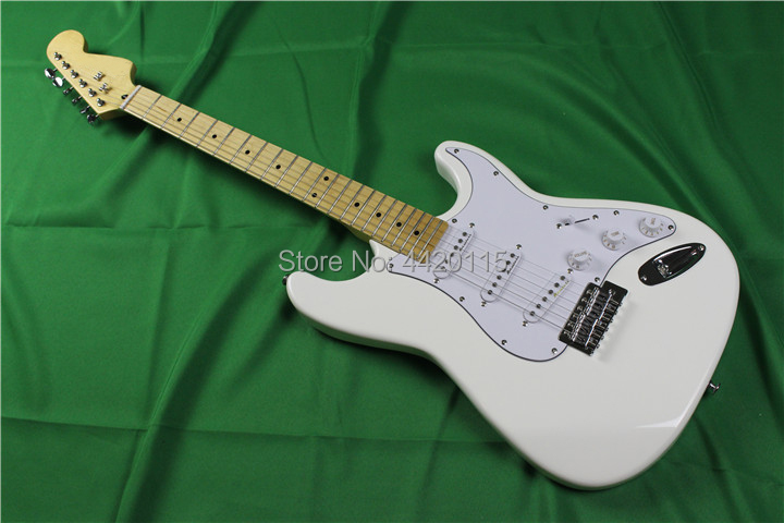 Hot sale big headstock st electric guitar,flat white color,glossy finish,S S S wax pickups ,maple fingerboard 22 frets st guitar
