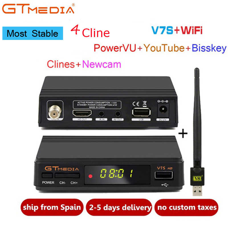 Freesat V7S HD DVB-S2 Satellite Receiver Full 1080P HD Receptor Support  PowerVu+Europe Cccam 4 cline 1 year Set Top Box PK V7 HD