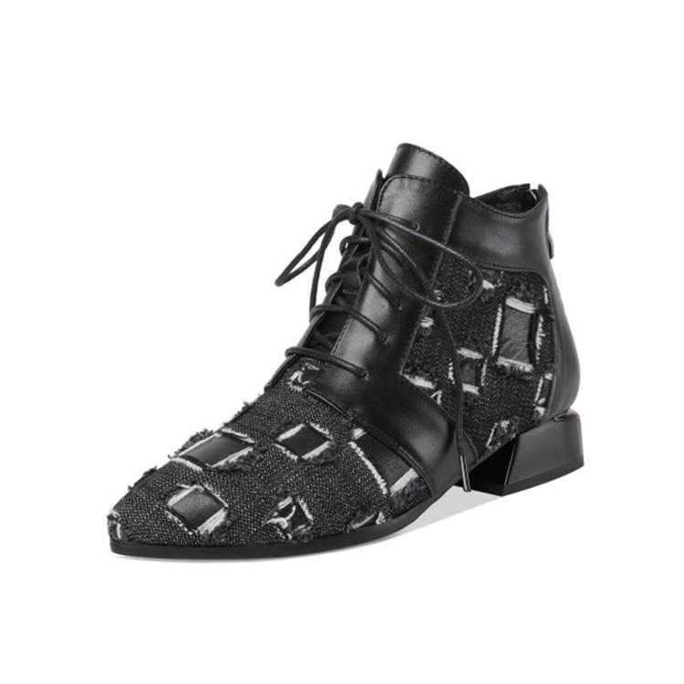 MLJUESE 2019 della caviglia delle donne stivali in pelle di mucca + Denim lace up Geometrica tacco basso stivali invernali breve peluche stivali alla caviglia formato 40-in Stivaletti da Scarpe su  Gruppo 3