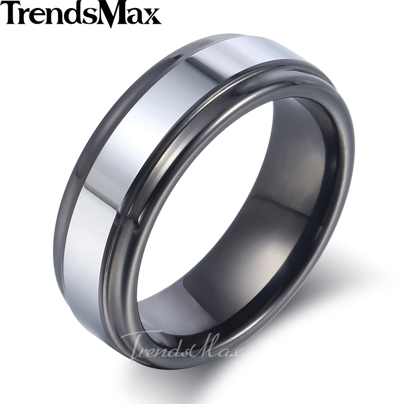 Trendsmax Polished Band Ring Mens Boys Tungsten Carbide Wedding Engagement Black Silver 7mm KTR08 black tungsten carbide with dark wood inlay mens wedding ring