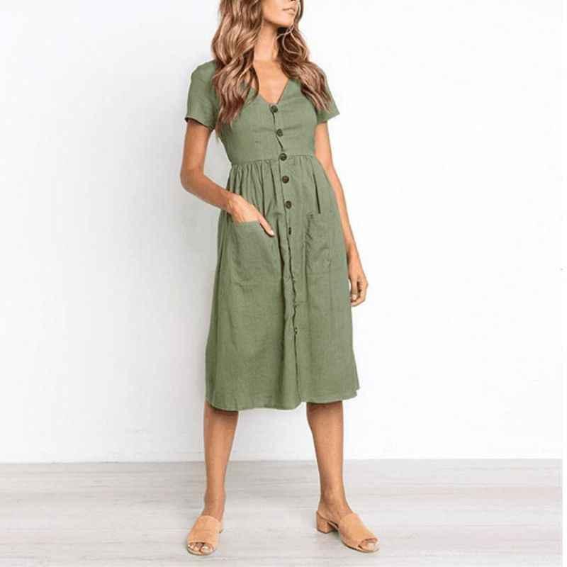 7ac626b09dd ... LASPERAL Women's Fashion Summer Classic Dresses Short Sleeve V Neck  Button Decorative Swing Midi Dresses With
