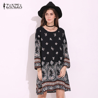Plus Size Women Floral Crewneck Long Sleeve Casual Loose MIni Dress Boho Ladies Party Beach Holiday