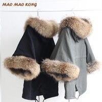 2017 новое женское зимнее пальто куртка енота большой меховой воротник повседневное пальто с расклешенными рукавами плащ с хлопковой подкла