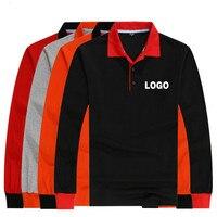 Custom Logo Long Sleeve Cotton Blend Polo Shirt For Man Women Unisex Couple Clothing Personal Tailor