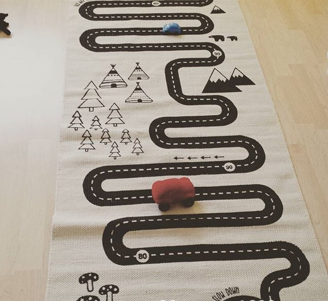 mylb 180cm*70cm Nordic Style Fashon Canvas Forest Track Runway Play Game Mats Baby Kids Crawling Blankets Floor Carpet Children
