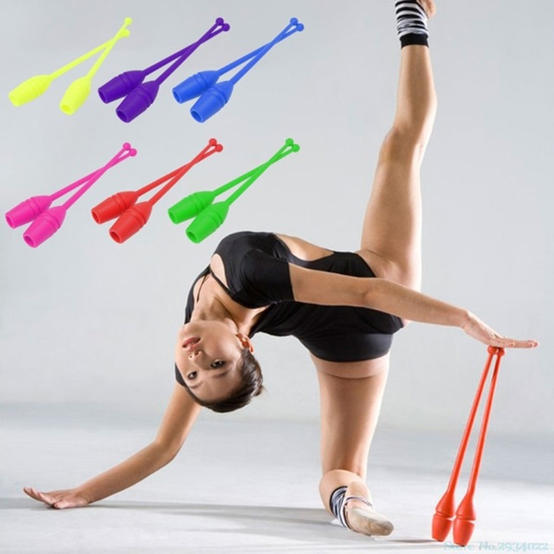 1 Pair Children Adults Rhythmic Gymnastics Sticks Bars Apparatus 45cm Non-toxic Plastic Dancing Sports Fitness Equipment