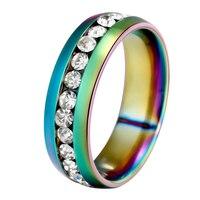 Unisex Cool Stainless Steel Rhinestone Embedded Rainbow Luster Finger Ring Gift