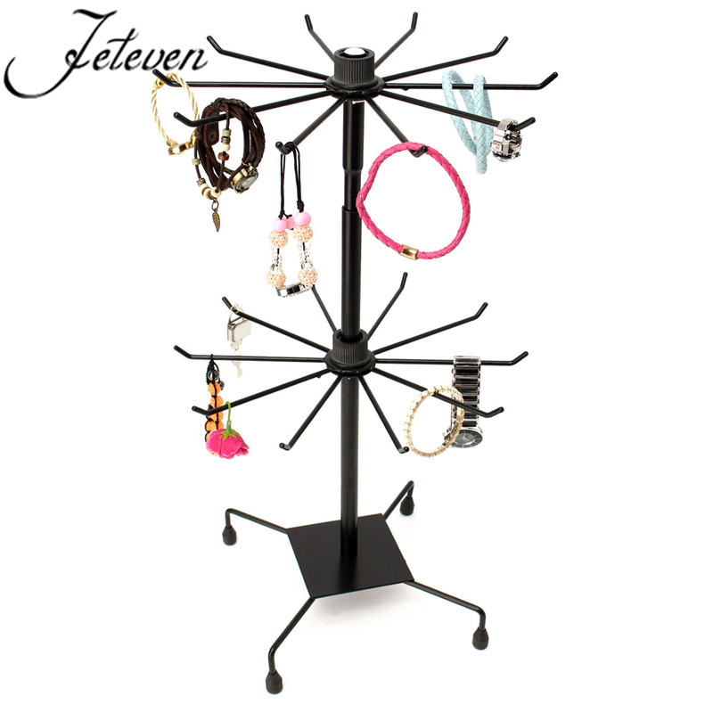 Double Tier Metal Rotating Jewelry Display Stand Black 40 Hooks Fascinating Revolving Jewelry Display Stand