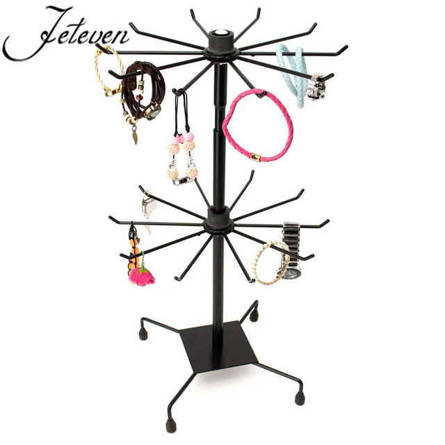 Double Tier Metal Rotating Jewelry Display Stand Black 20 Hooks