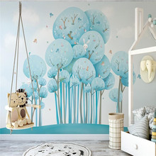 Blue cute cartoon forest rabbit bird childrens room background wall painting professional production wallpaper mural custom pho