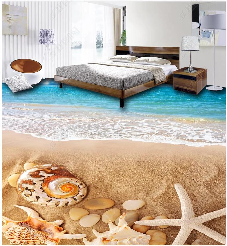 Custom photo 3d flooring mural self - adhesion wall sticker Conch shells on the beach 3d wall murals wallpaper for walls 3 d high quality 3d flooring custom photo wall mural pebbles carp 3d floor murals wallpapers 3d floor tiles nature wallpapers
