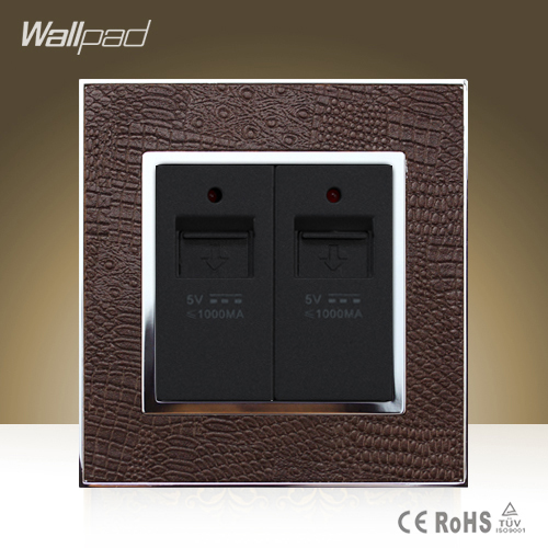 Big Sale Wallpad Luxury Double USB Ports Goats Brown Leather Wall Phone USB Charger Wall Socket Free Shipping wallpad luxury double 13 a uk switched socket goats brown leather 1 gang switch and 13a wall socket with neon free shipping
