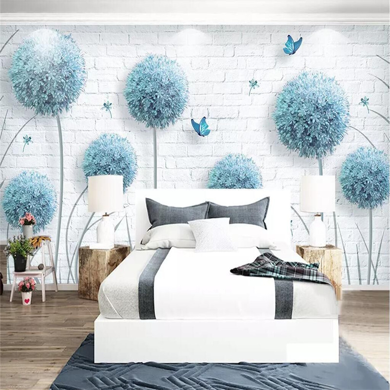 Custom Nordic simple dandelion hand-painted floral background wall paper decorative painting factory wholesale wallpaper mural c tascam dr 40 page 9