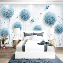 Custom Nordic simple dandelion hand-painted floral background wall paper decorative painting factory wholesale wallpaper mural c
