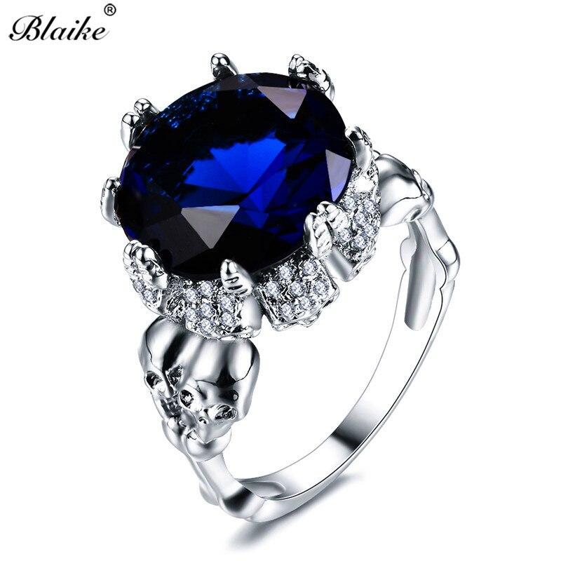 Blaike Punk Vintage Double crâne bleu cristal Zircon anneaux pour femmes hommes 925 en argent Sterling rempli bijoux anneau de naissance cadeau