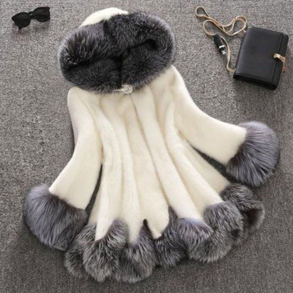 High Imitation Fur Coat Women Silver Fox Fur Collar Hooded Rabbit Fur Coat Overcoat Winter Coat Mink Winter Female Coat