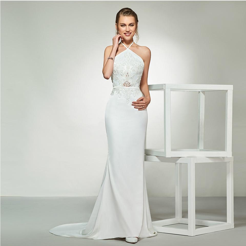 Dressv Elegant Halter Neck Sleeveless Appliques Wedding