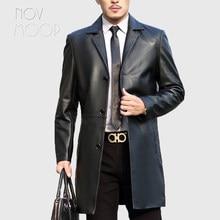 2018 Spring autumn men black genuine leather real lambskin long suit coat  jacket deri ceket jaqueta de couro LT2515 free ship 125d8f4ab